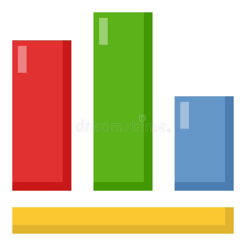 Columns Graph Flat Icon Isolated on White vector illustration