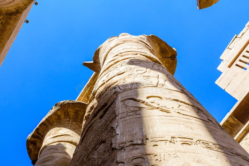 Columns in the great hypostyle hall of the Karnak temple. Columns in great hypostyle hall of Karnak temple stock photography