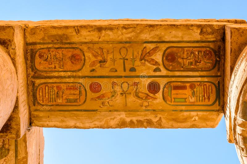 Columns in the great hypostyle hall of the Karnak temple. Looking up. Columns in great hypostyle hall of Karnak temple. Looking up stock photos
