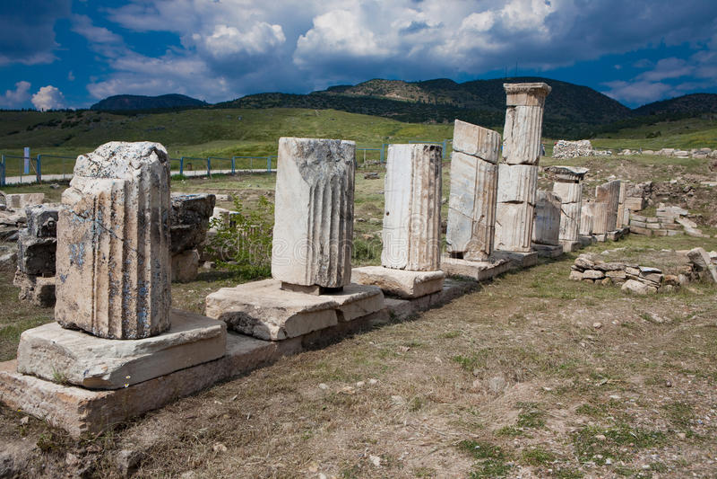 Columns in Hierapolis royalty free stock image