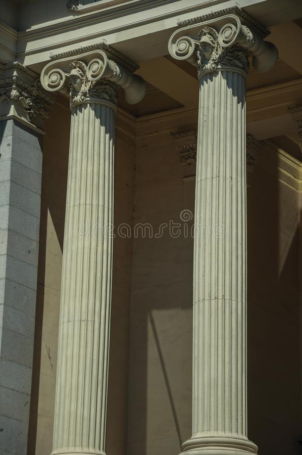 Columns with Ionic capitals on the facade of building in Madrid royalty free stock photos