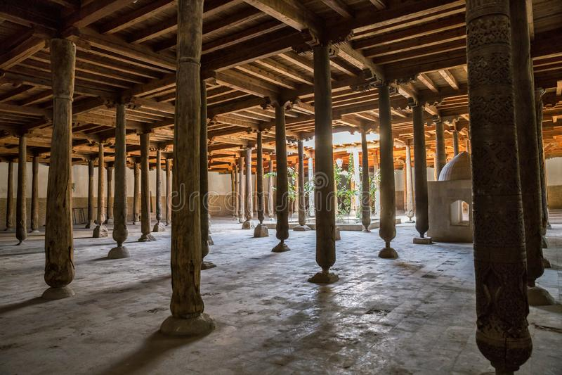 Columns of Juma mosque in Khiva royalty free stock image