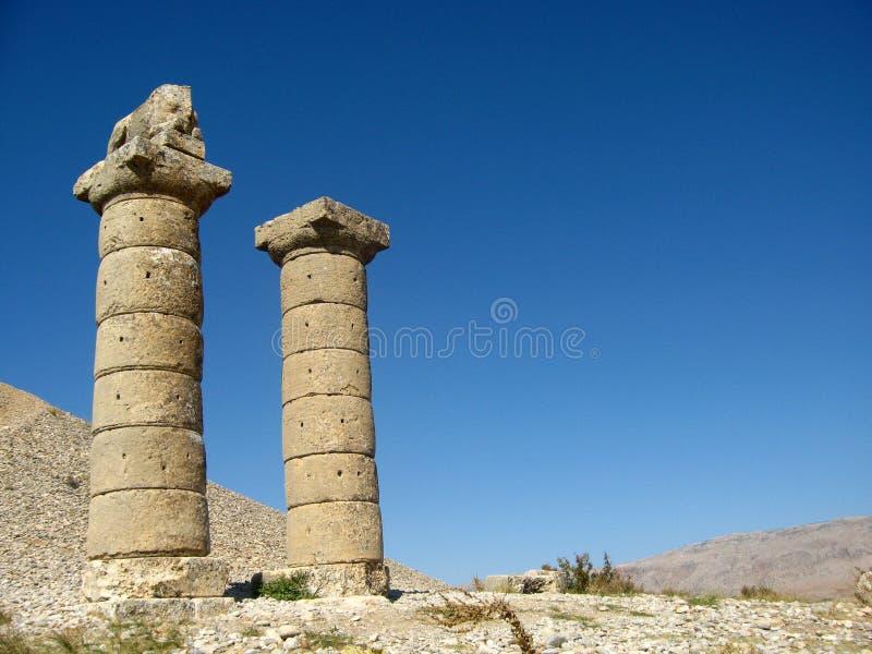Columns of Karakus Tumulus in Turkey stock images