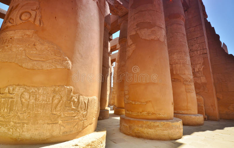 Columns in Karnak temple.(Thebes)Luxor. Egypt. Luxor. Karnak temple is the largest temple complex of Ancient Egypt, the main state sanctuary of the New Kingdom stock image