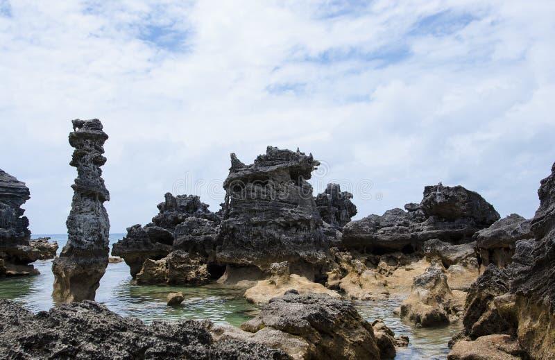 Columns of limestone rocks stock image