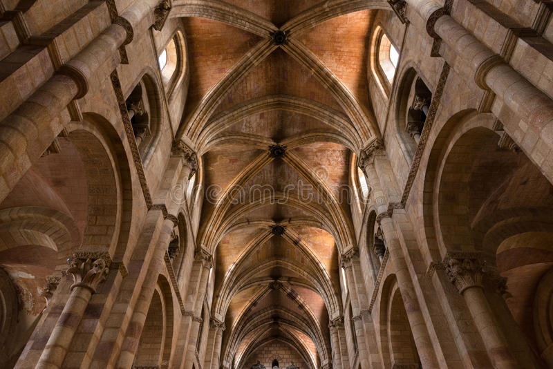 Columns and main nave of the Basilica of San Vicente. Inside view of the main nave of the Basilica de San Vicente in Avila, one of the best examples of stock photography