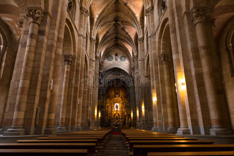 Columns and main nave of the Basilica of San Vicente. Inside view of the main nave of the Basilica de San Vicente in Avila, one of the best examples of royalty free stock image