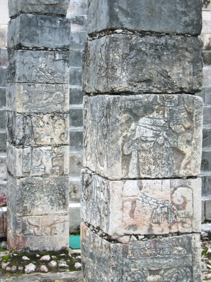 Columns of a maya temple royalty free stock photo