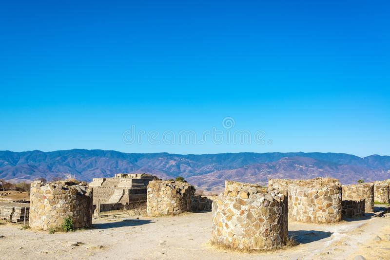 Columns in Monte Alban. Columns in the ruins of the ancient city of Monte Alban in Oaxaca, Mexico royalty free stock photo