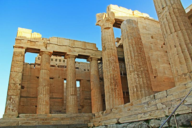 Entrance to the Acropolis Just Above the Theater Odeon of Herodes stock photo