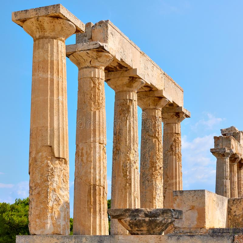 Free Columns Of Temple Of Aphaea In Aegina Royalty Free Stock Photos - 163962068