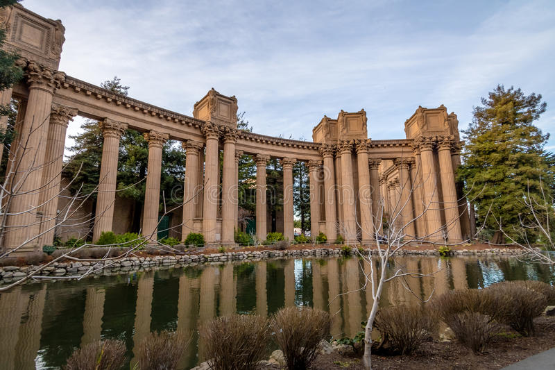 Columns of the Palace of Fine Arts - San Francisco, California, USA. SAN FRANCISCO, USA - December 26, 2016: Columns of the Palace of Fine Arts - San Francisco royalty free stock images