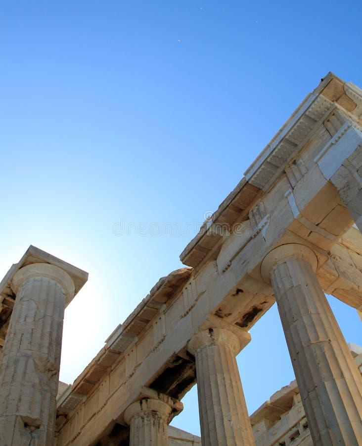Columns of Parthenon stock images