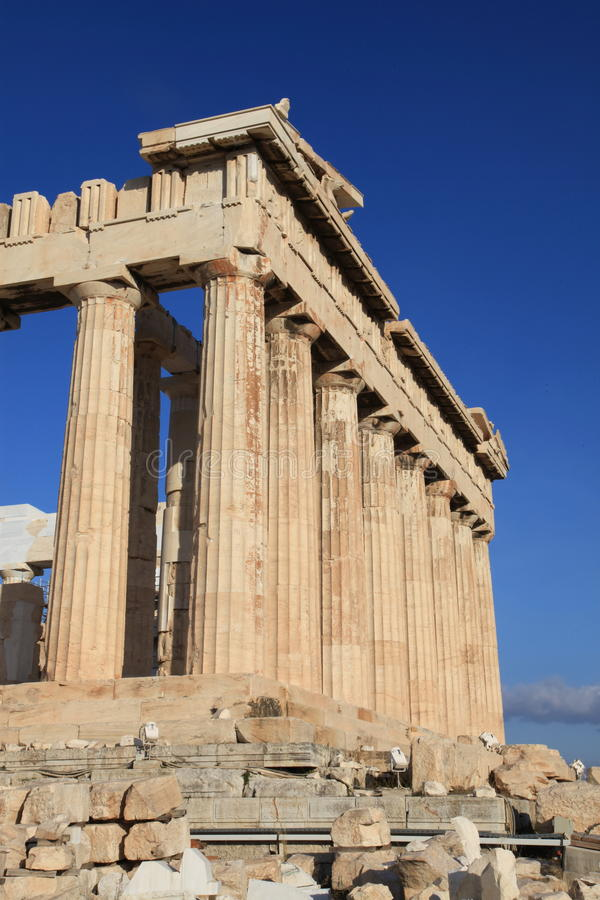 Columns at Parthenon in Athens Greece stock image