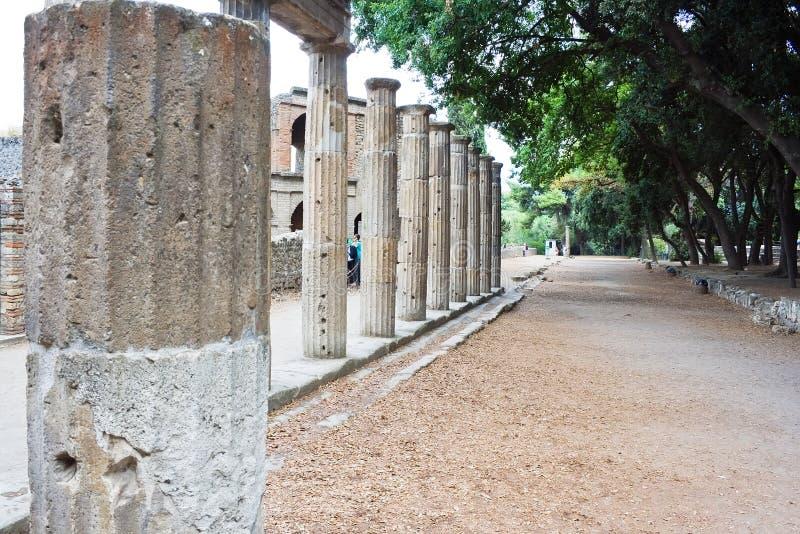 Columns in Pompeii. Ruins of ancient roman columns in Pompeii, Italy stock photos