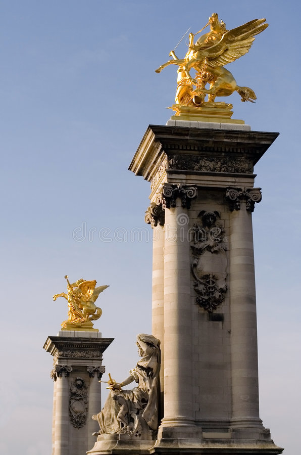 Columns of the Pont Alexandre III royalty free stock photography