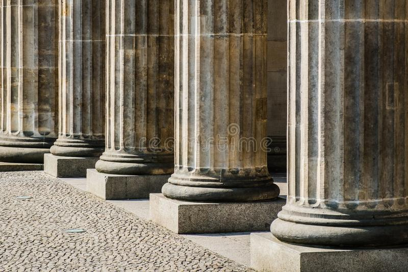Columns in row - base of pillars , courthouse historic.  stock photography
