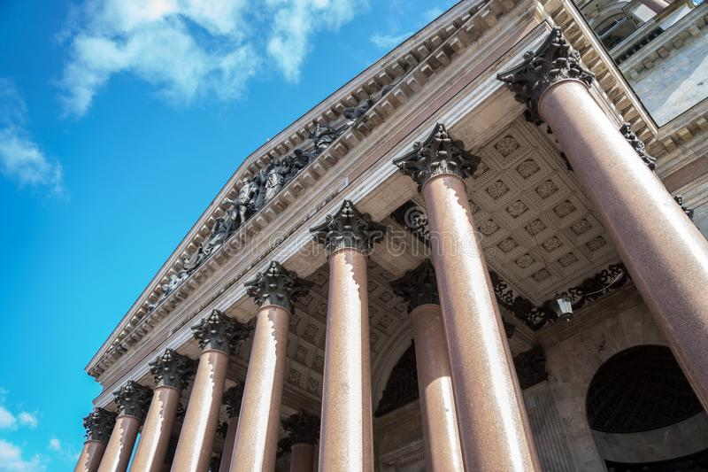 Columns of the Saint Isaac`s Cathedral. Columns of the Saint Isaac`s Cathedral in Saint-Petersburg royalty free stock photography