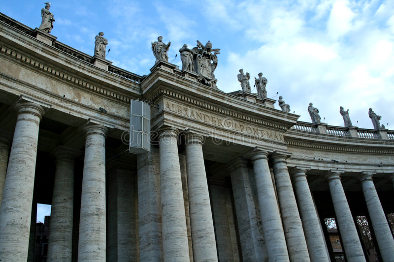 The columns of St. Peter in Rome stock image