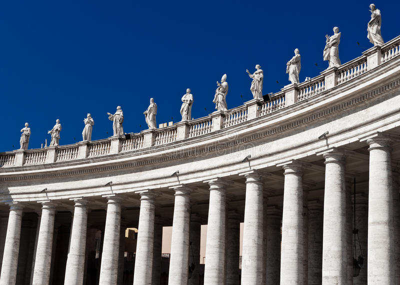 Columns and statues, Vatican royalty free stock images