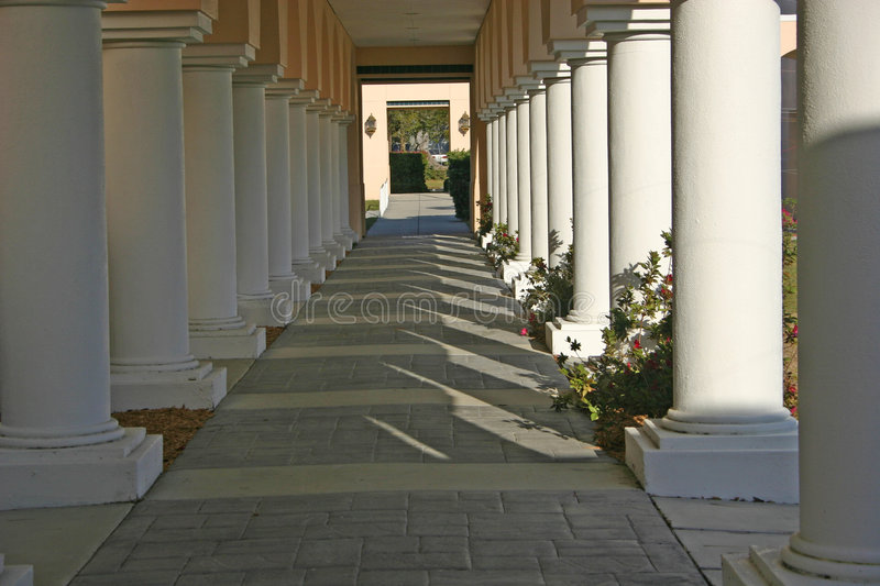 Columns In Sunshine And Shadows Stock Photo