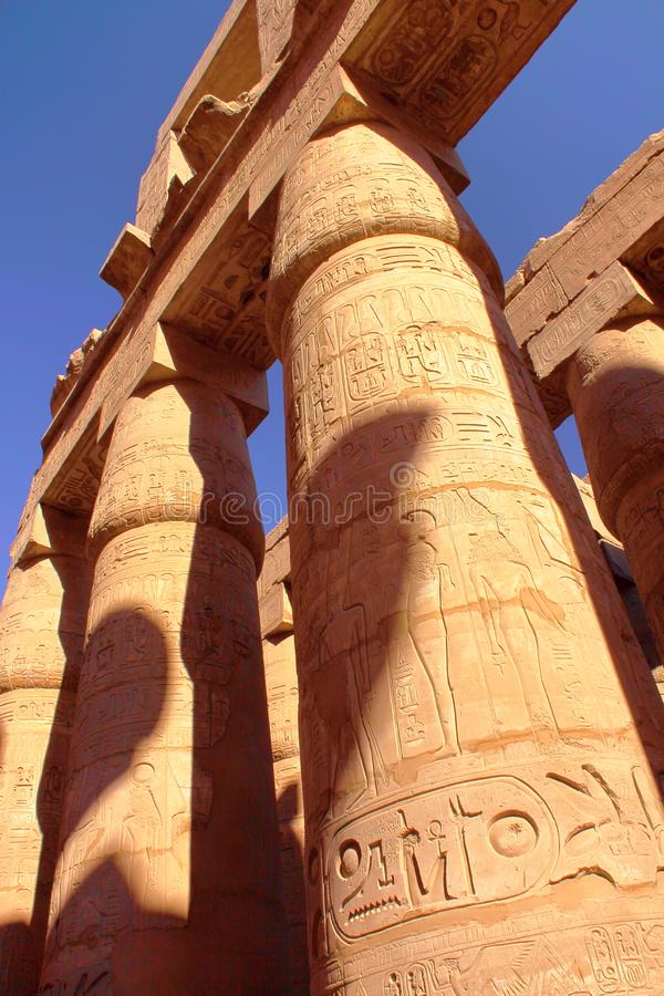 The columns of the Temple of Amun at Karnak temple in Luxor. Egypt royalty free stock images