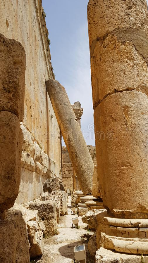 Columns of the Temple of Bacchus. The ruins of the Roman city of Heliopolis or Baalbek in the Beqaa Valley. Baalbek, Lebanon -. Columns of the Temple of Bacchus royalty free stock photos
