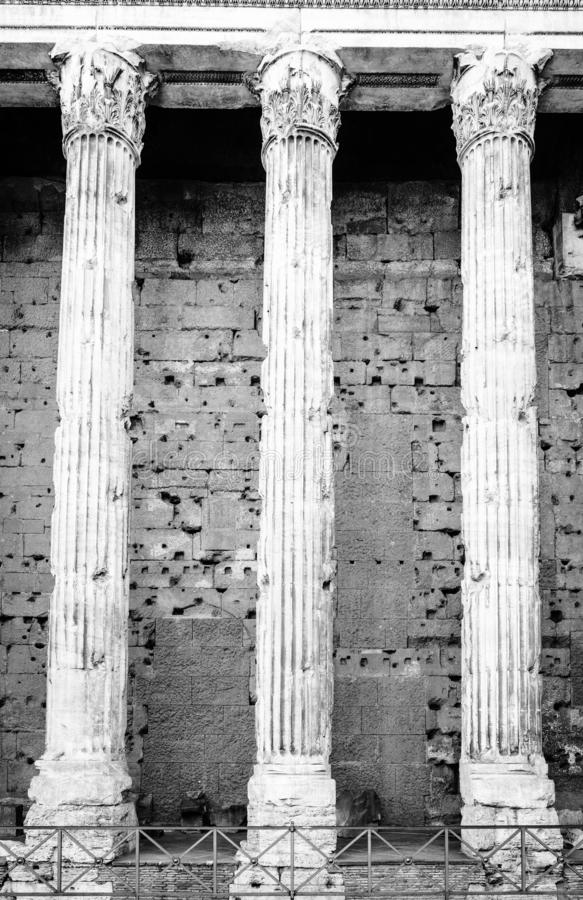 Columns of Temple of Hadrian stock images