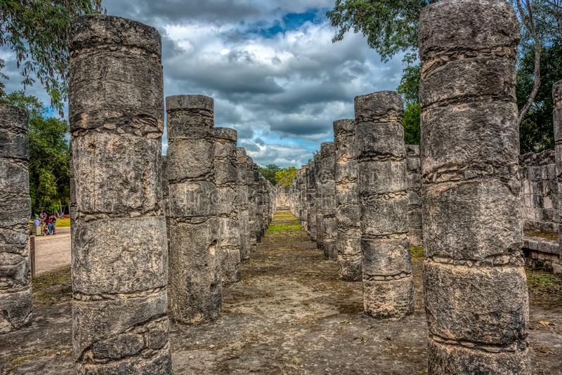 Columns in the Temple of a Thousand Warriors, Chichen Itza, Mexico royalty free stock photo