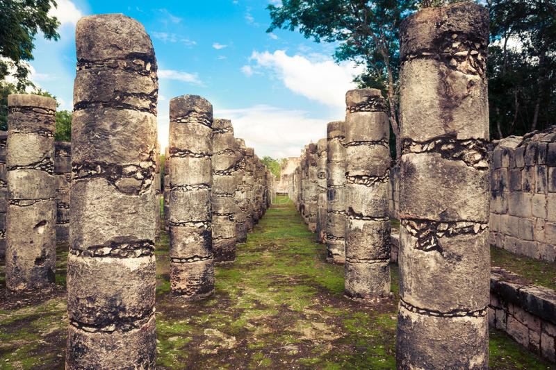 Columns in Temple of a Thousand Warriors in Chichen Itza, Yucatan, Mexico stock image