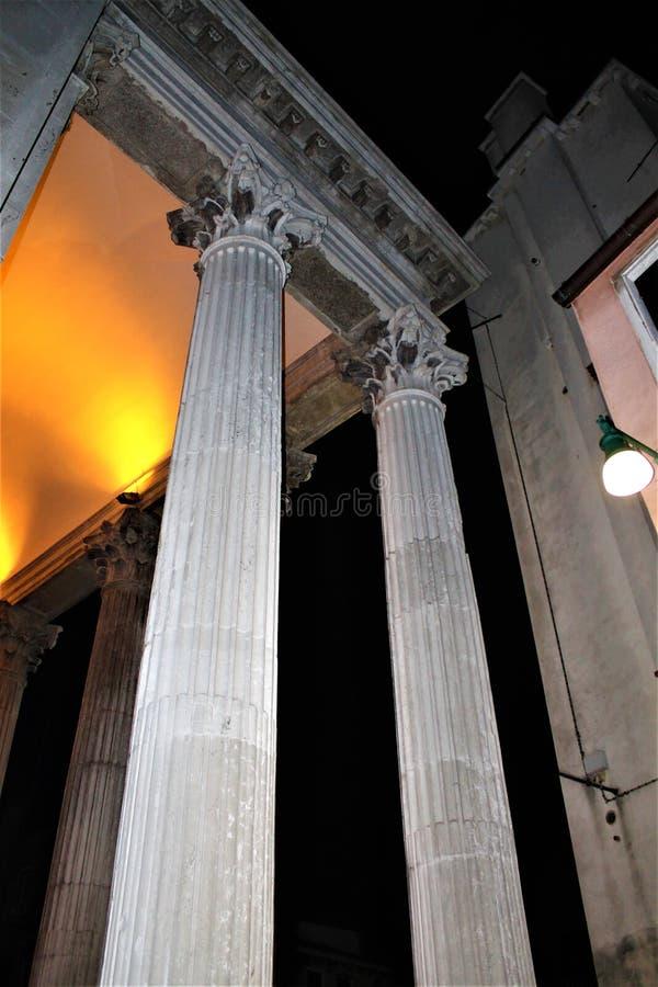 Columns in Venice city, Italy. Romantic atmosphere, sentimental mood, history, pillars, light and art royalty free stock photos