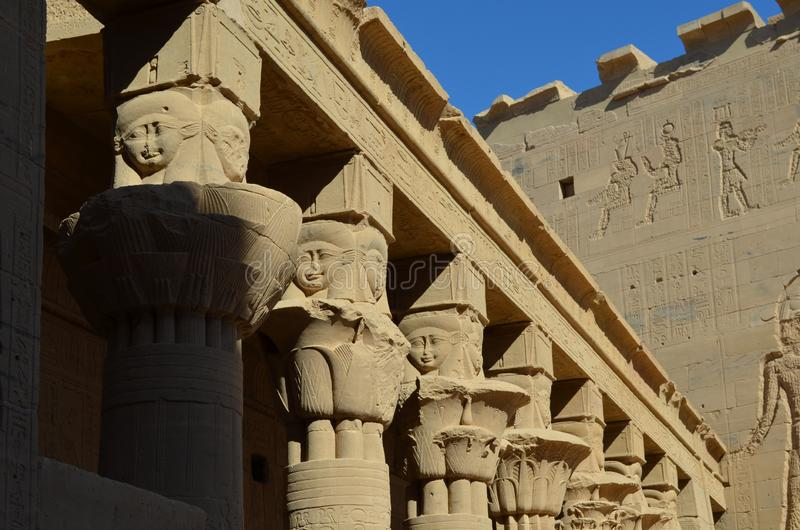 Columns and Wall of the Temple of Philae, Ancient Egypt royalty free stock photography