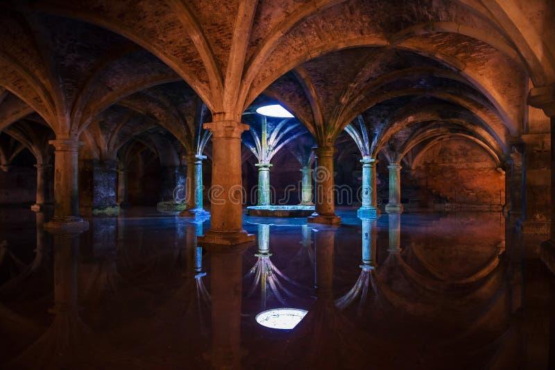 Columns. Wonderful subterranean reservoir water flooding royalty free stock image