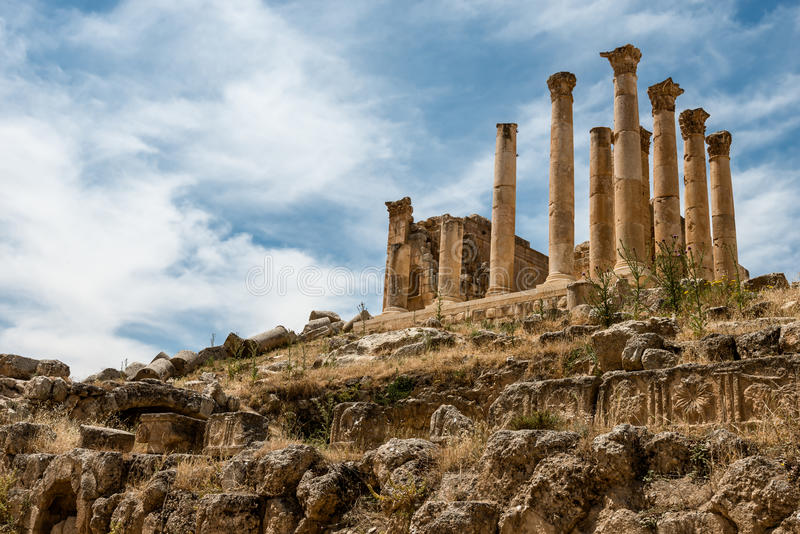 Colums de ville romaine antique de Gerasa, Jerash photo stock