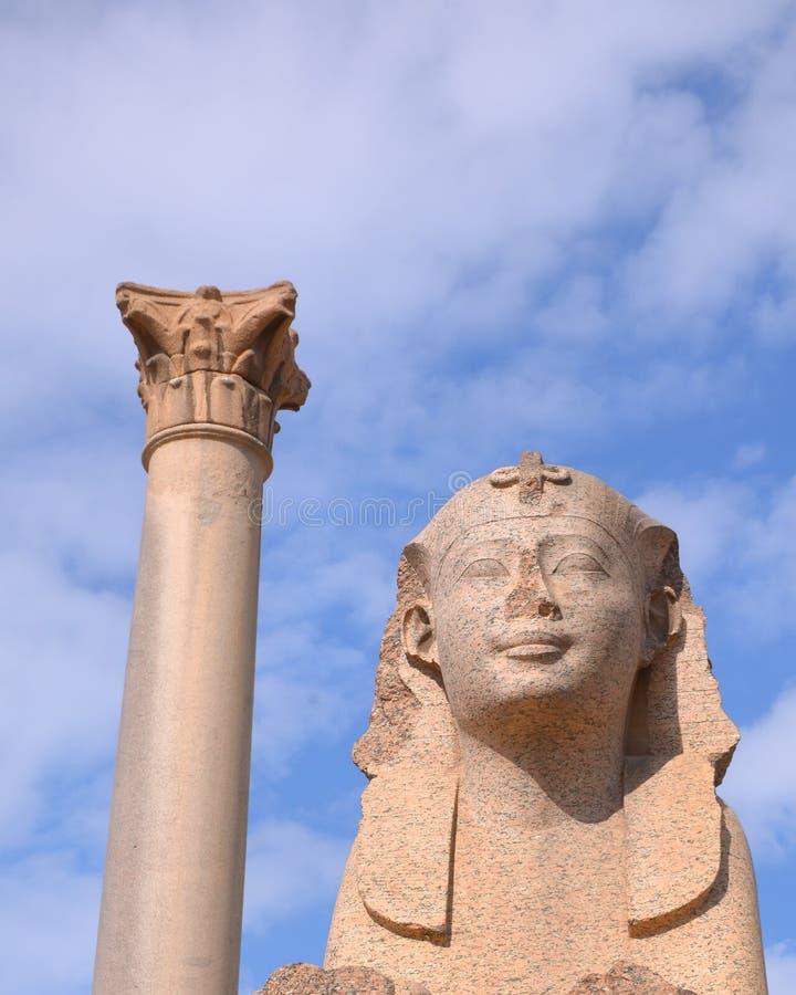 A coluna Alexandria Egypt de Pompey imagens de stock royalty free