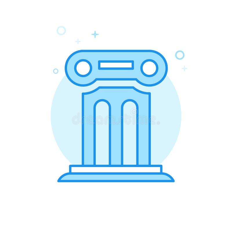 Coluna antiga, ícone liso do vetor do pódio, símbolo, pictograma, sinal Claro - projeto monocromático azul Curso editável ilustração stock