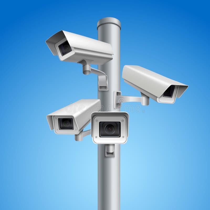 Coluna da câmara de vigilância ilustração do vetor