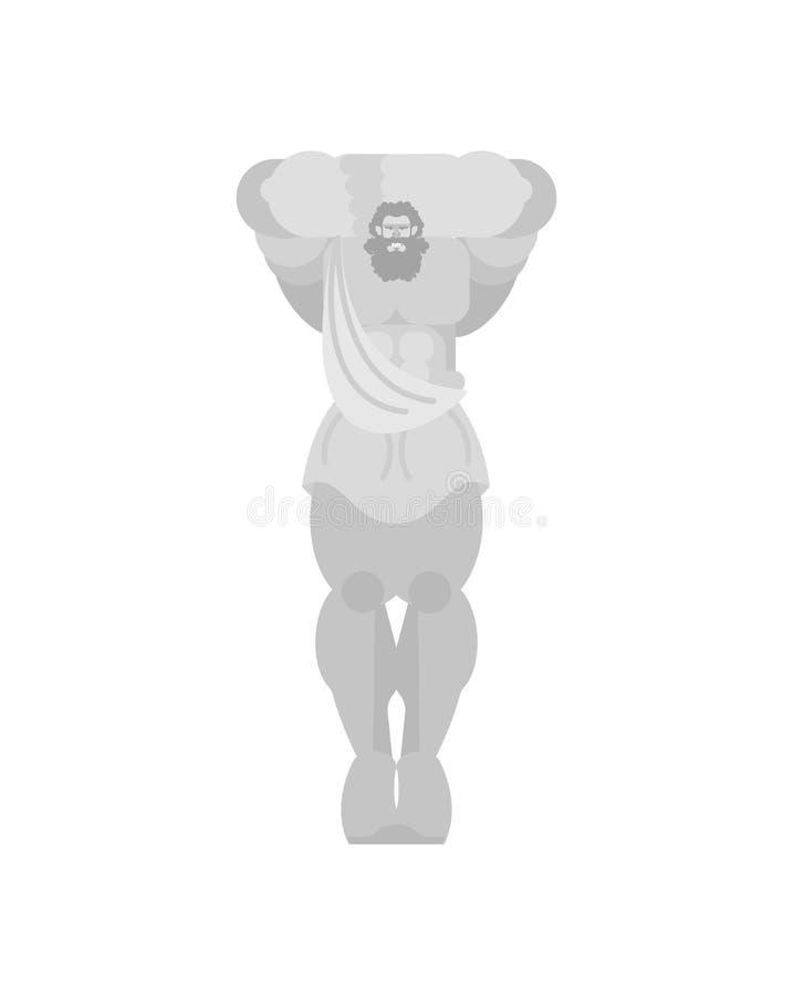Coluna da estátua de Atlant na construção no formulário da figura masculina Apoio de telhado do grego clássico ilustração royalty free