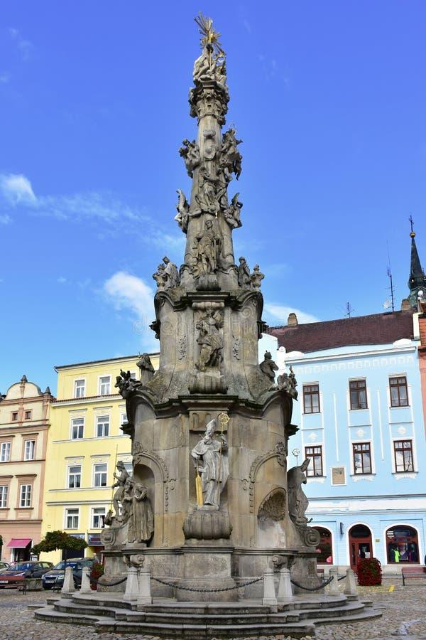 Coluna da trindade santamente, Jindrichuv Hradec, República Checa fotografia de stock