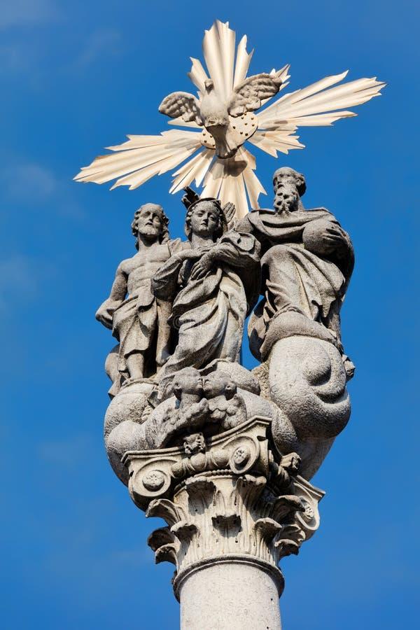 Coluna da trindade santamente, Ursuline Church, Ljubljana, Eslovênia fotografia de stock royalty free