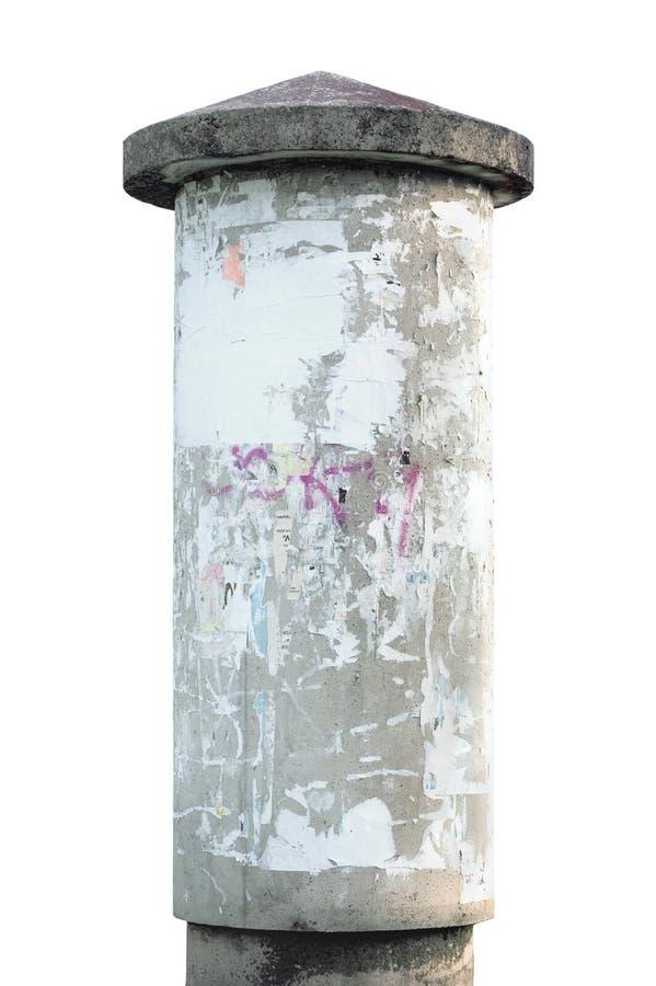 Coluna de anúncio concreta de Grunge isolada imagens de stock