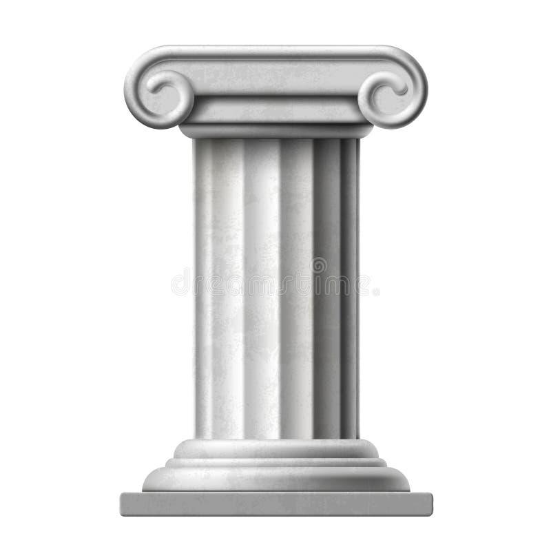 Coluna de mármore antiga do ícone Isolado no fundo branco estoque ilustração royalty free