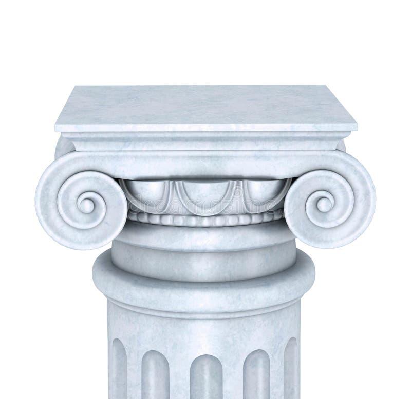 Coluna de mármore isolada no fundo branco ilustração stock