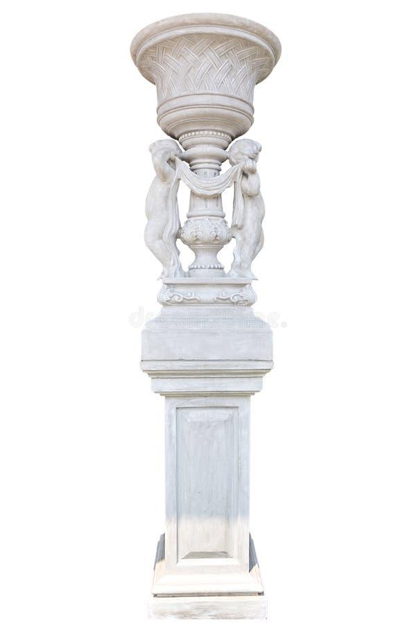 Coluna de mármore no branco fotografia de stock