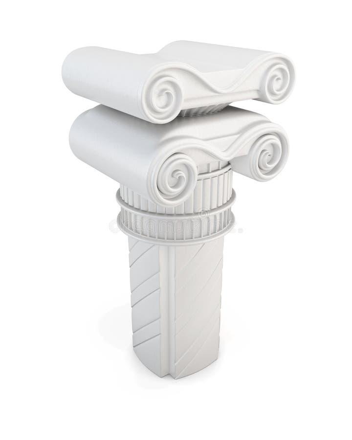 Coluna de mármore no fundo branco ilustração 3D ilustração do vetor