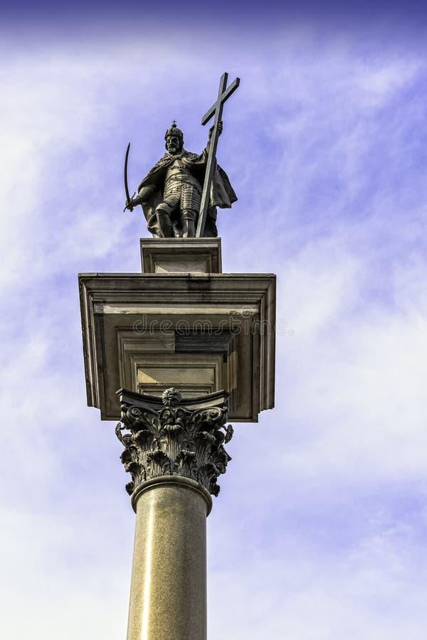 Coluna de Sigismund na Praça do Castelo, Varsóvia, Polônia fotos de stock