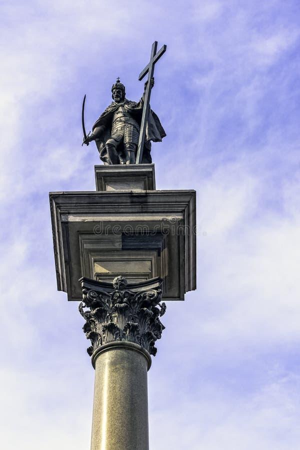 Coluna de Sigismund na Praça do Castelo, Varsóvia, Polônia foto de stock