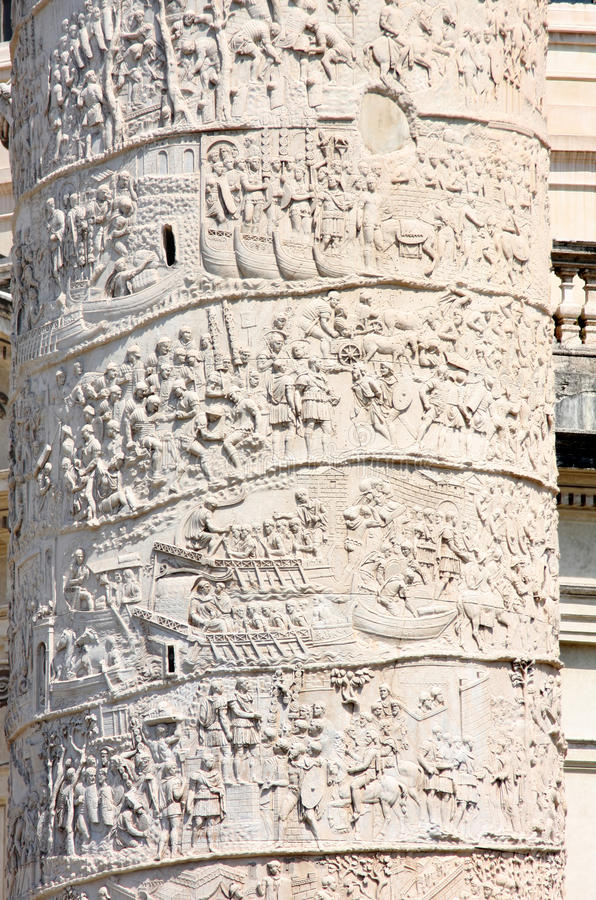 Coluna de Trajan, praça Venezia em Roma, Italy foto de stock royalty free