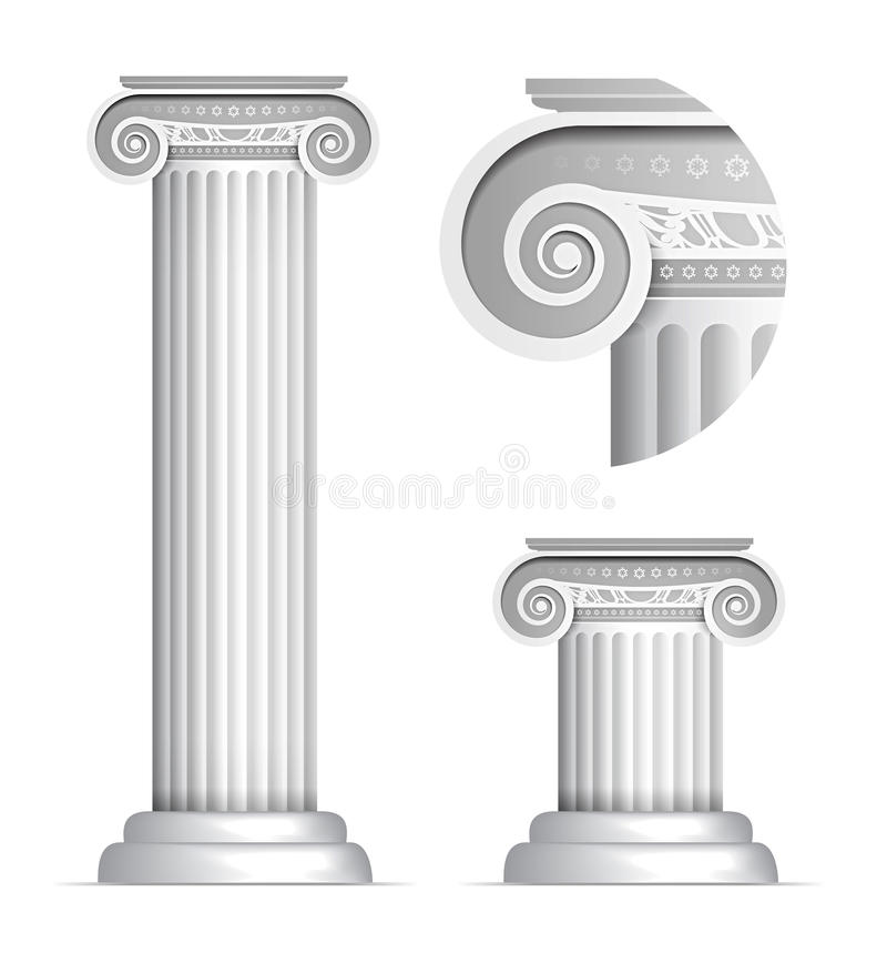 Coluna do grego clássico ou do Roman Ionic ilustração royalty free