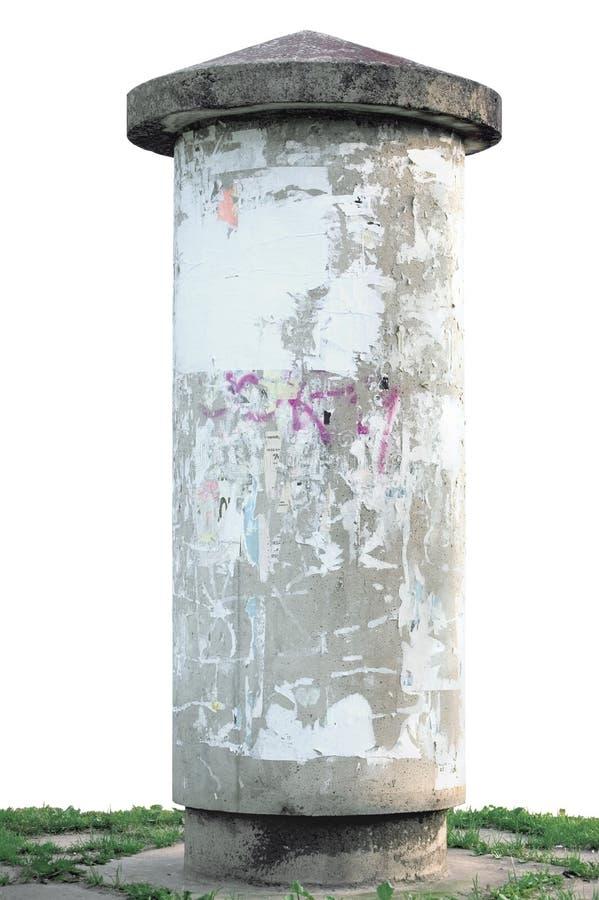 Coluna e grama de anúncio de Grunge fotografia de stock